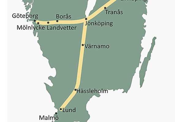Sverigeförhandlingen presenterade måndag 1 februari sitt förslag till sträckning och stationslägen, vilket innebär stationer i Tranås, Jönköping och Värnamo i Jönköpings län. Bild: Sverigeförhandlingen