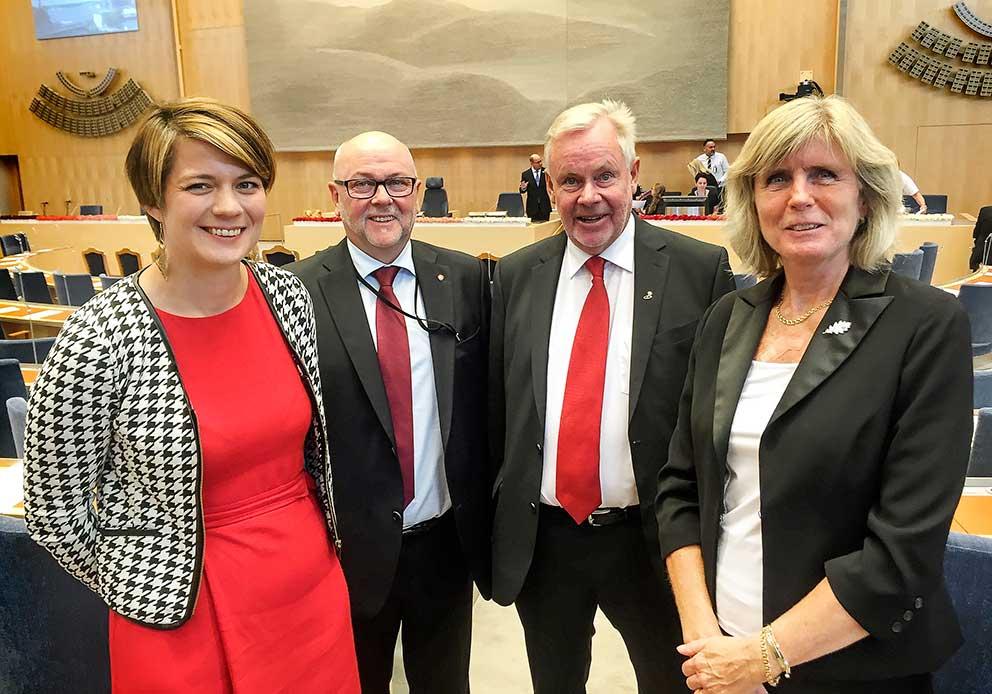 Johanna Haraldsson, Thomas Strand, Peter Persson och Helene Petersson, fyra S-ledamöter från länet vid riksdagens öppnande.